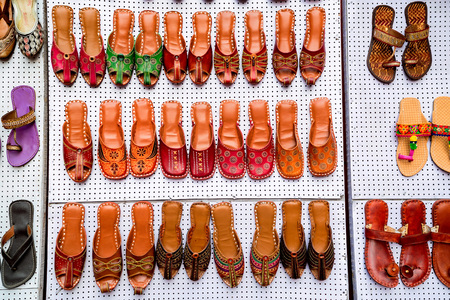 Colorful ethnic shoes at marketplace in India