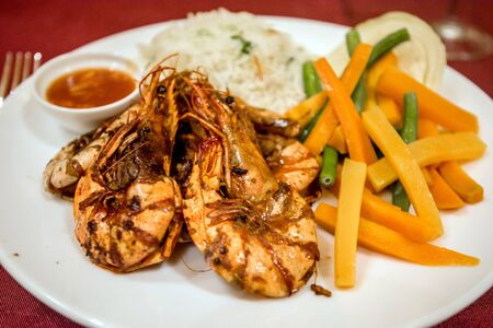 Prawn with rice and vegetables