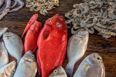 Fresh raw fish and seafood at market Stock Photo