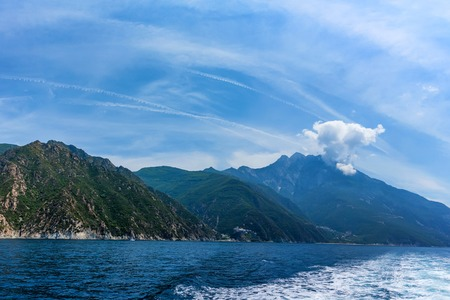 Panorama of Holy Mount Athos viewed from sea