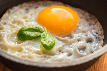 Close-up of fried eggs in a frying pan Stock Photo