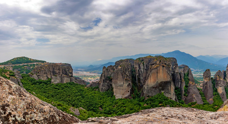 Scenic panoramic view to Meteora monasteries Stock Photo