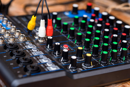 Close-up of digital audio mixing console for DJ Stock Photo