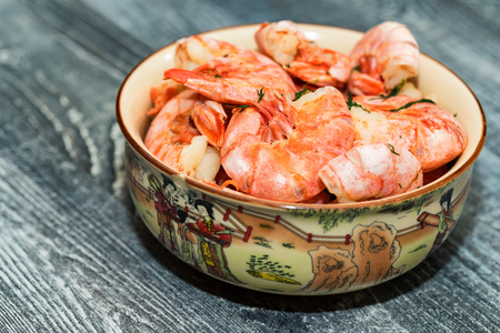 Freshly cooked shrimps in bowl