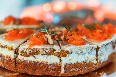 Close-up of fresh carrot cake decorated with rosemary Stock Photo