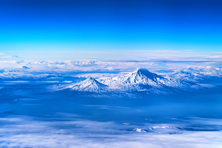 Scenic aerial view of Mount Ararat. The legendary resting place of Noahs Ark.