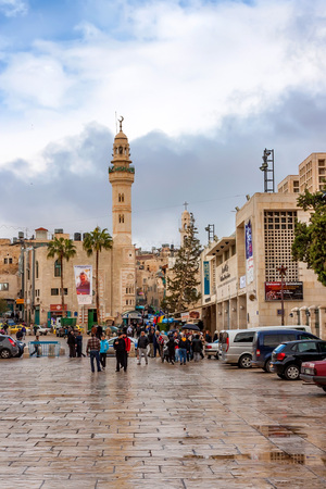 BETHLEHEM, ISRAEL - CIRCA NOVEMBER 2011: Street of Bethlehem on cloudy day Editorial