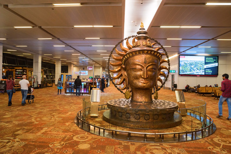 DELHI, INDIA - CIRCA NOVEMBER 2017: Surya statue in airport