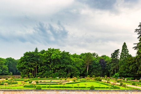 CHENONCEAU, FRANCE - CIRCA JUNE 2014: Garden of Catherine de Medici