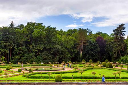 CHENONCEAU, FRANCE - CIRCA JUNE 2014: Garden of Catherine de Medici