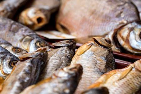 Variety of jerked river fish