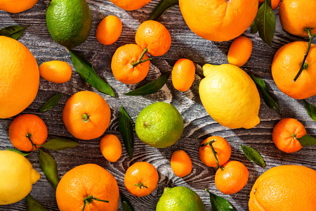 Close-up of various citrus fruits. Top view Stock Photo