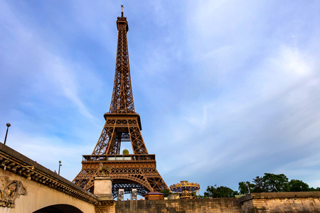 PARIS, FRANCE - CIRCA JUNE 2014: View of Eiffel tower from Seine Editorial