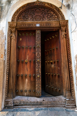 Old wooden doors in Stone Town, Zanzibar Stock Photo