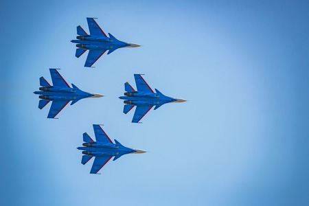 ROSTOV-ON-DON, RUSSIA - AUGUST, 2017: Su-30 from Russian Knights team Editorial