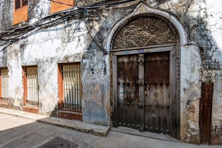 Old wooden doors in Stone Town, Zanzibar Stok Fotoğraf