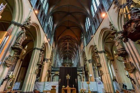 BRUGES, BELGIUM - JUNE 10, 2014: Interior of Church of Our Lady in Bruges Editorial