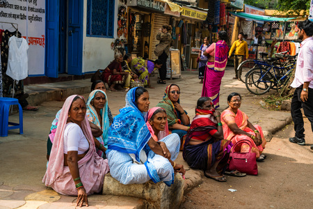 JAIPUR, INDIA - NOVEMBER 9, 2017: Group of unidentified indian women in street