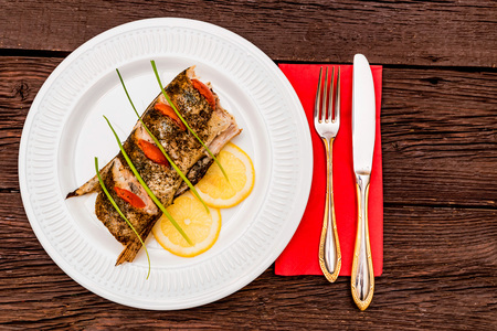 Roasted zander fillet with asparagus and lemon Stock Photo