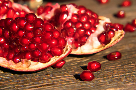 Pieces of ripe pomegranate close