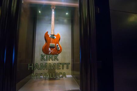 PUNTA CANA, DOMINICAN REPUBLIC - OCTOBER 29, 2015: Guitar of Kirk Hammett in Punta Cana