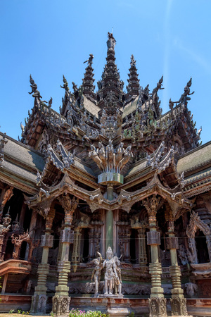 Beautiful carvings at Sanctuary of Truth, Thailand