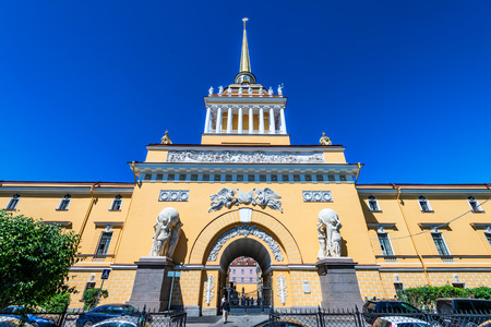 ST.PETERSBURG, RUSSIA - JUNE 14, 2015: Admiralty building in Saint Petersburg