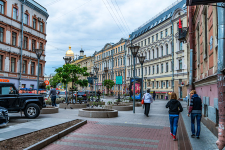 ST.PETERSBURG, RUSSIA - JUNE 14, 2015: Central street in St. Petersburg Editorial