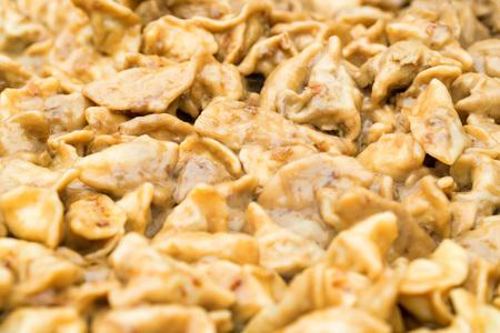 Close-up of meat dumplings or pelmeni Stock Photo