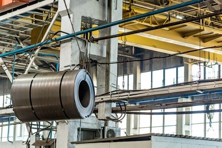Roll of sheet steel in industrial plant