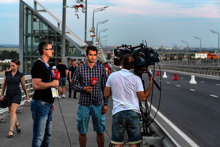 ROSTOV-ON-DON, RUSSIA - JUNE 17, 2018: Recording report during World Cup 2018
