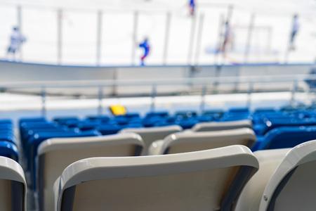 Empty blue seats at hockey rink Banco de Imagens