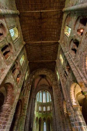 Medieval abbey interior Mont Saint-Michel, France