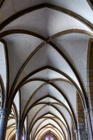 Medieval abbey ceiling, Mont Saint-Michel, France