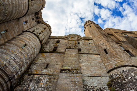 Walls of medieval abbey Mont Saint-Michel in France Banque d'images