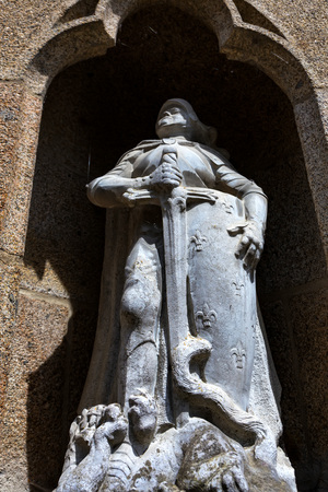 Sculpture in medieval abbey Mont Saint-Michel in France