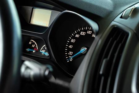 Close up image of a modern car speedometer Banco de Imagens
