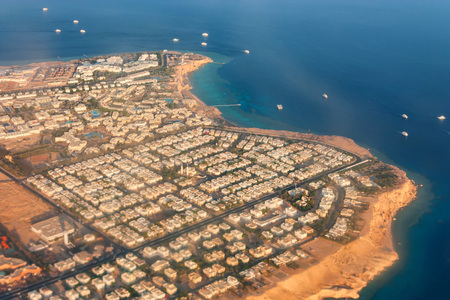 Sharm El Sheikh aerial view from airplane Stock Photo