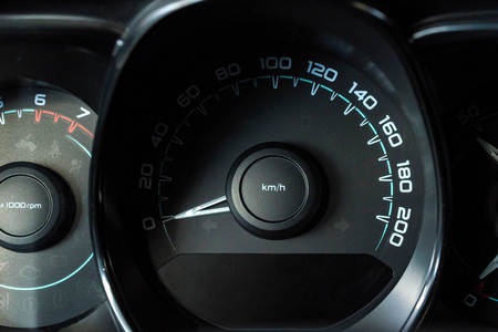 Close up image of a modern car speedometer Stock Photo