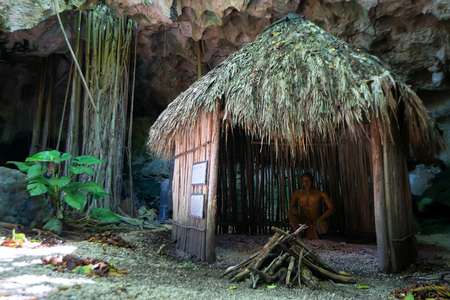 Hut used by Taino indians in Dominican Republic Standard-Bild