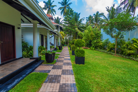 View of palms and villas at tropical hotel in Sri Lanka