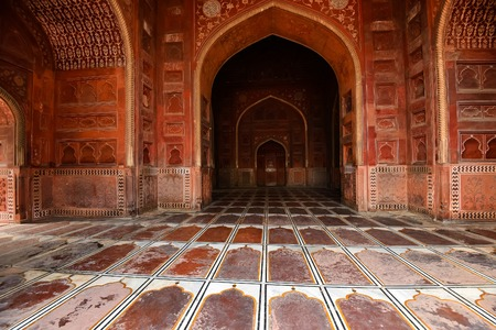 Interior of beautiful mosque on territory of Taj-Mahal