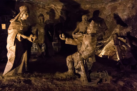 Salt sculptures in Wieliczka Salt Mine in Poland Reklamní fotografie