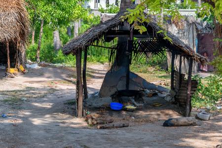 View of slums with dirty hut in Zanzibar, Africa