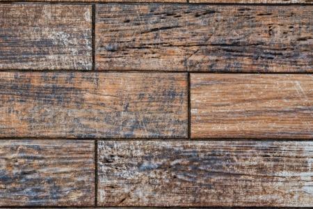 Dark wooden planks covering floor close up background