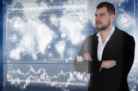 Business man in futuristic office. Global corporate concept Reklamní fotografie