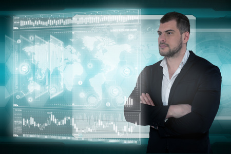 Business man in futuristic office. Global corporate concept Banco de Imagens