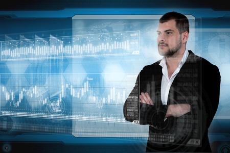 Business man in futuristic office. Global corporate concept Stok Fotoğraf