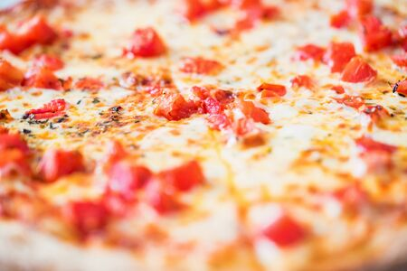 Delicious fresh pizza Margherita with tomatoes and cheese close up texture Reklamní fotografie - 124863926