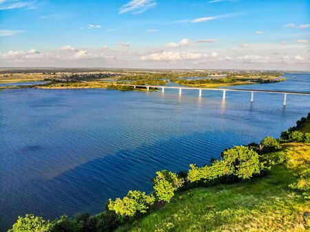 View of steppe and a modern bridge over upper river Don in Russia Stock Photo